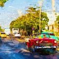 Vintage Cars In Varadero by Les Palenik