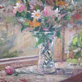 Vase And Flowers In Window Sill. by Bart DeCeglie