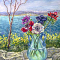 Vase Of Anemones With View Of Nafplio by Patricia Buckley