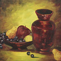 Vase With Fruit Bowl by Cathy Robertson