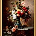 Vase With Roses And Other Flowers L A With Decorative Ornate Printed Frame. by Gert J Rheeders