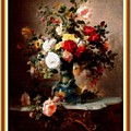 Vase With Roses And Other Flowers L B With Alt. Decorative Ornate Printed Frame. by Gert J Rheeders
