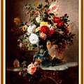 Vase With Roses And Other Flowers L B With Decorative Ornate Printed Frame. by Gert J Rheeders