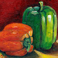 Vegetable Still Life Green And Orange Pepper Grace Venditti Montreal Art by Grace Venditti