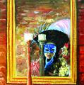 Venetian Girl Looking In Mirror by Leonardo Ruggieri