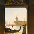 Venice A View Of The Dogana Seen Through A Large Doorway by Charles Auguste van den Berghe