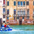 Venice Boat Under The Rain by Jean-luc Bohin