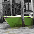 Venice Canals Green Boat by Greg Sharpe