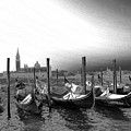 Venice Gondolas Black And White by Rebecca Margraf