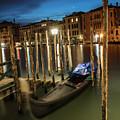 Venice Italy Gondola At Blue Hour  by John McGraw