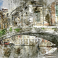 Venice Italy Digital Watercolor On Photograph by Brandon Bourdages