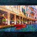 Venice Red Boat And Outdoor Cafe by Marty Malliton