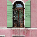 Venice Window In Pink And Green by Brooke T Ryan