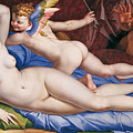 Venus, Cupid And A Satyr by Bronzino