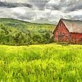 Vermont Farm Landscape Pencil by Edward Fielding