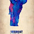 Vermont Watercolor Map by Naxart Studio