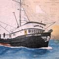 Verna Jean Fishing Boat Nautical Chart Map by Cathy Peek