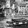 Vernazza Boats And Church Cinque Terre Italy Bw by Joan Carroll