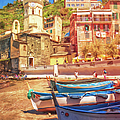 Vernazza Boats And Church Cinque Terre Italy Painterly by Joan Carroll