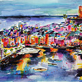 Vernazza Twilight Cinque Terre Watercolors by Ginette Callaway