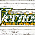 Vernors Beverage Company Recycled Michigan License Plate Art On Old White Barn Wood by Design Turnpike