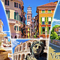 Verona Tourist Landmarks Postcard With Label by Brch Photography