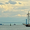 Verrazano Bridge With Schooner by Allan Einhorn