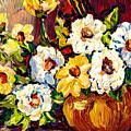 Vibrant And Beautiful White And Yellow Flowers Colorfuloriginal Painting By Carole Spandau by Carole Spandau