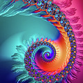 Vibrant And Colorful Fractal Spiral  by Matthias Hauser