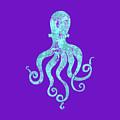 Vibrant Blue Octopus Beach House Coastal Art by Tina Lavoie