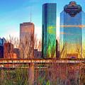 Vibrant Houston Texas City Skyline by Gregory Ballos