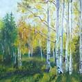 Vibrant Landscape Paintings - Arizona Aspens And Pine Trees - Virgilla Art by Virgilla Lammons