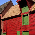 Vibrant Red And Green Building by Sally Weigand