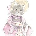 Victorian Cat In Purple by Silvia Beneforti