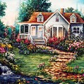 Victorian House With Gardens by Jean Harrison