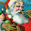 Victorian Illustration Of Santa Claus Holding Toys And Blowing On A Trumpet by American School