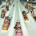 Victorian Poster Of Night Sledding by American School