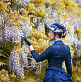 Victorian Woman Admiring Wisteria Flowers by Lee Avison