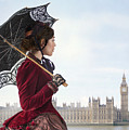 victorian woman with parasol in 19th century London  by Lee Avison
