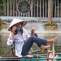 Vietnamese Lady Photographer At Tam Coc by Martin Berry