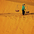Vietnamese Woman At The Red Sand Dunes In Mui Ne, Vietnam, Southeast Asia by Sam Antonio Photography