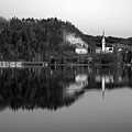 View Across Lake Bled In Black And White by Ian Middleton
