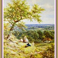 View From The Hill On The Village Below. P B With Decorative Ornate Printed Frame. by Gert J Rheeders