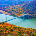 View From Top Of Bear Mountain Of Bear Mountain Bridge by William Rogers