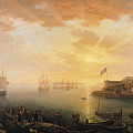 View Of Brest Harbor by Jean Francois Hue