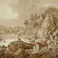 View Of Karlsbad In The Foreground A Young Mother With Her Children by Adrian Zingg