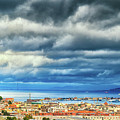 View Of Messina Strait Sicily With Dramatic Sky by Silvia Ganora