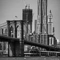 View Of One World Trade Center And Brooklyn Bridge by Matt Pasant