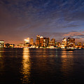 View Of The Boston Waterfront At Night by Nicole Freedman