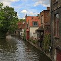 View Of The Canal From Maria Brug On Katelijnestraat In Bruges by Louise Heusinkveld
